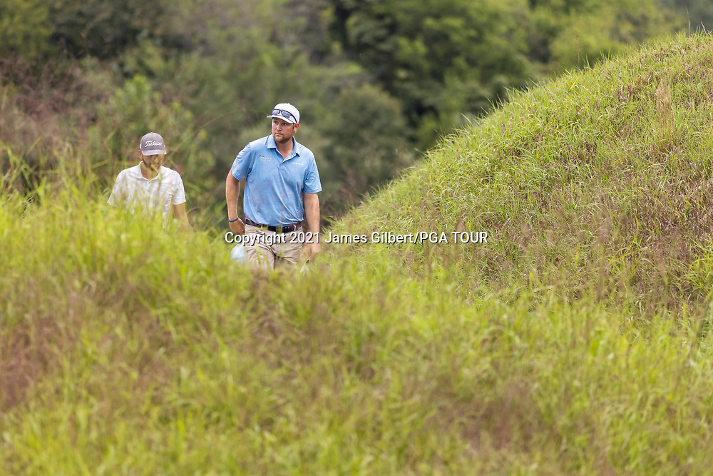 NEWBURGH, IN - SEPTEMBER 04: Trey Mullinax walks to the 18th tee during the third round of the Korn Ferry Tour Championship presented by United Leasing and Financing at Victoria National Golf Club on September 4, 2021 in Newburgh, Indiana. (Photo by James Gilbert/PGA TOUR via Getty Images)