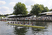 Henley, Great Britain.  Henley Royal Regatta. M8+, University of California, Berkeley, USA [Bucks], lead Harvard University, USA [Berks], as they pass the Grandstands, in the semi-final, of the Temple Challenge Cup. River Thames Henley Reach.  Royal Regatta. River Thames Henley Reach.  Saturday  02/07/2011  [Mandatory Credit  Intersport Images] . HRR