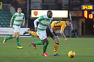 Yeovil's Francois Zoko rides the challenge of Newport's captain Mark Byrne. Skybet football league two match, Newport county v Yeovil Town at Rodney Parade in Newport, South Wales on Saturday 21st November 2015.<br /> pic by David Richards, Andrew Orchard sports photography.