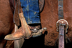 Cowboy boot sitting in a saddle stirrup