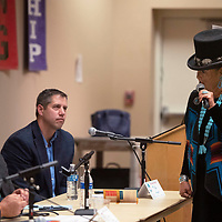 """Nicole Walker stands up and addresses Navajo Nation Vice President Myron Lizer and says, """"I want to challenge you on this day to support our Navajo students and contribute into GMCS school district with funds being the largest native nation"""" Tuesday, Oct. 22 at a town hall concerning school Impact Aid at the Student Support Center in Gallup."""