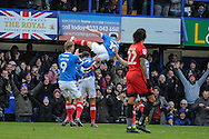 Portsmouth Players Celebrate after Portsmouth Forward, Conor Chaplin (19) opens the scoring 1-0 during the EFL Sky Bet League 2 match between Portsmouth and Leyton Orient at Fratton Park, Portsmouth, England on 14 January 2017. Photo by Adam Rivers.
