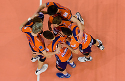 Players of ACH celebrate at  match for 3rd place of CEV Indesit Champions League FINAL FOUR tournament between PGE Skra Belchatow, POL and ACH Volley Bled, SLO on May 2, 2010, at Arena Atlas, Lodz, Poland. Belchatow defeated ACH 3-1. (Photo by Vid Ponikvar / Sportida)