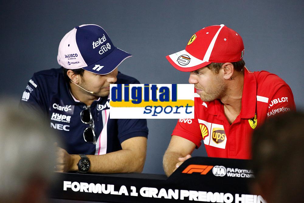Sebastian Vettel Scuderia Ferrari; Sergio Perez Racing Point Force India<br /> Monza 30-08-2018 GP Italia <br /> Formula 1 Championship 2018 <br /> Foto Federico Basile / Insidefoto
