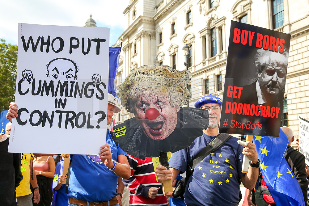 """© Licensed to London News Pictures. 03/009/2019. London, UK. Hundreds of anti-Brexit protesters take part in """"Stop The Coup"""" demonstration in Westminster as MPs return to Westminster for a no deal  showdown that could result in a snap election. Photo credit: Dinendra Haria/LNP"""