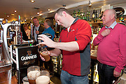 Michael Conroy, Claremorris, pulls a pint at the GUINNESS Mid-Strength Taste Test Tour. Guinness Master Brewer Fergal Murray and former Irish Rugby International Mick Galwey hosted the event, which featured a special Q&A on rugby and a Pour Your Pint Competition. .Full details are available on www.Facebook.com/Guinnessireland GUINNESS Mid-Strength has the unmistakable distinctive taste and is brewed in exactly the same way as GUINNESS, just with less alcohol at 2.8%...The GUINNESS word and associated logos are trademarks...Enjoy Guinness Sensibly...Visit www.drinkaware.ie..