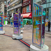 Manhattan streets remain sparse to both visitors and traffic as the Prismatica Art Instillation is seen nearly empty during the Coronavirus (Covid-19) pandemic on Tuesday, January 19, 2021 in Manhattan, New York. (Alex Menendez via AP)