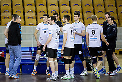 Marko Brumen, head coach of Calcit with players during volleyball match between ACH Volley and OK Calcit Volleyball in 10th Round of Slovenian National Championship 2014/15, on March 11, 2015 in Arena Tivoli, Ljubljana, Slovenia. Photo by Vid Ponikvar / Sportida