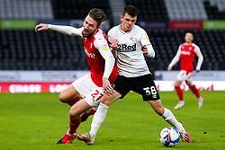 Angus MacDonald of Rotherham United is shoved by Jason Knight of Derby County - Mandatory by-line: Ryan Crockett/JMP - 16/01/2021 - FOOTBALL - Pride Park Stadium - Derby, England - Derby County v Rotherham United - Sky Bet Championship