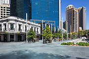 Mc Donalds, Circular Quay, in Sydney's Central Business District is very empty as a result of the Coronavirus Outbreak, with very few office workers or customers around, Sydney, Australia.