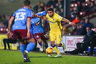 AFC Wimbledon forward Andy Barcham (17) has a run  during the EFL Sky Bet League 1 match between Scunthorpe United and AFC Wimbledon at Glanford Park, Scunthorpe, England on 28 February 2017. Photo by Simon Davies.