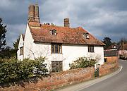 Historic farmhouse building in the village of Coddenham, Suffolk, England