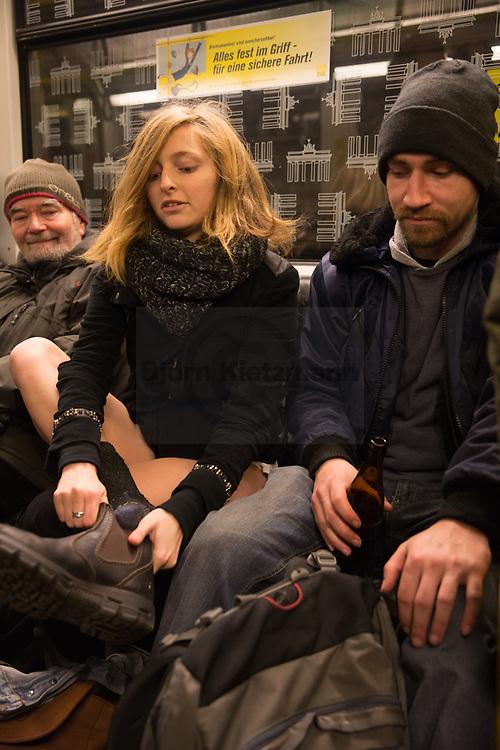 "Berlin, Germany - 11.01.2015<br /> <br /> No pants subway ride flashmob in Berlin.<br /> <br /> ""No pants subway ride"" U-Bahn-Flashmob ohne Hosen.<br /> <br /> Photo: Bjoern Kietzmann"