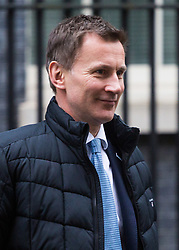 London - Secretary of State for Health and Social Care Jeremy Hunt leaves the weekly meeting of the UK cabinet at Downing Street. January 23 2018.