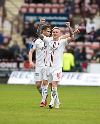 Falkirk's Craig Sibbald and Falkirk's Luke Leahy at the end. Dunfermline 1 v 2 Falkirk, Scottish Championship game played 22/4/2017 at Dunfermline's home ground, East End Park.