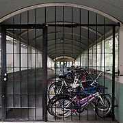 Södra Station co-housing in Stockholm, Sweden, August 28, 2012. Bike parking at Södra station, collective in with 63 flats for all ages. The house has also several common rooms, kitchen, dining room, party room, gym, room for kids, library, guest apartment and a music room. In 2012 Södra station celebrated its 25th Anniversary.