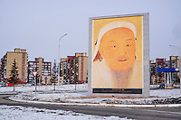 Mongolie, Ulan-Bator, hiver, portrait de Gengis Khan // Mongolia, Ulan-Bator, Gengis Khan portrait, winter in Ulan-Bator