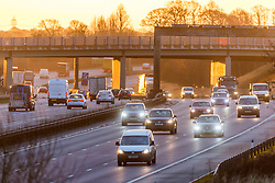 © Licensed to London News Pictures. 05/01/2021. Leeds UK. Heavy traffic on the A1 motorway outside Leeds this morning on the first day of the third lockdown in the UK due to the new strain of Coronavirus. Photo credit: Andrew McCaren/LNP