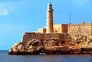CUBA, HAVANA (HABANA VIEJA) Castillo El Morro, built between 1589 and 1630 to protect Havana's harbor, lighthouse was built in 1845