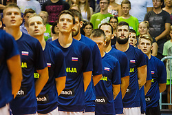 Luka Doncic #77, Ziga Dimic and Vladko Cancar of Slovenia during friendly basketball match between National teams of Slovenia and Hungary on day 1 of Adecco Cup 2017, on August 4th in Arena Tabor, Maribor, Slovenia. Photo by Grega Valancic/ Sportida
