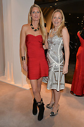 Left to right, LADY JUBIE WIGAN and ASTRID HARBORD at a party at Herve Leger, Lowndes Street, London on 12th November 2014 to view the latest collection.