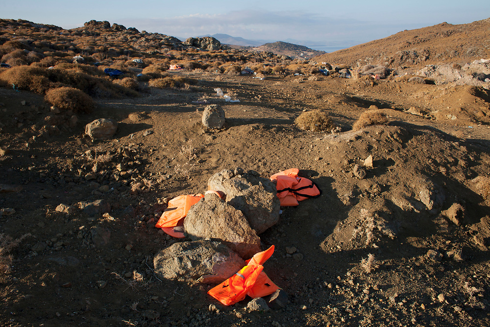 Life jackets scattered in the mountains of northern Lesvos. The crisis left its mark on the Island's landscape as well. Efforts have been made<br /> both by NGOs and locals to clean the beach, yet all across Lesvos you can still see the bright orange pieces.