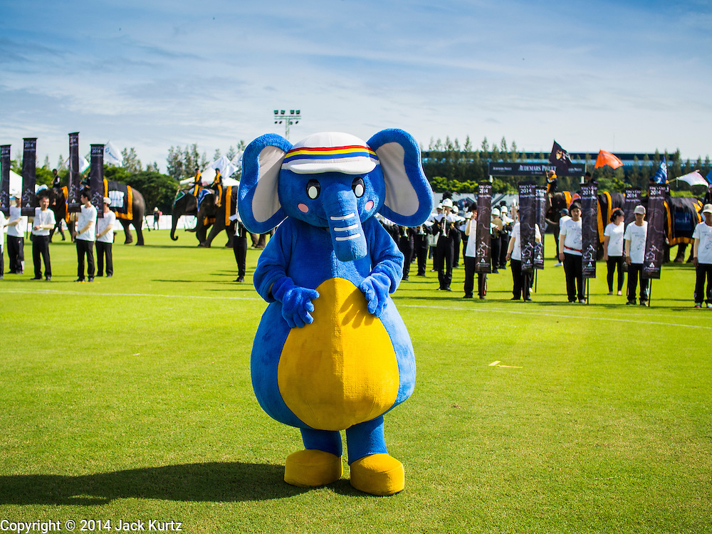 """28 AUGUST 2014 - BANGKOK, THAILAND: A person in an elephant suit leads a """"parade"""" during the opening ceremony at the King's Cup Elephant Polo Tournament at VR Sports Club in Samut Prakan on the outskirts of Bangkok, Thailand. The tournament's primary sponsor in Anantara Resorts. This is the 13th year for the King's Cup Elephant Polo Tournament. The sport of elephant polo started in Nepal in 1982. Proceeds from the King's Cup tournament goes to help rehabilitate elephants rescued from abuse. Each team has three players and three elephants. Matches take place on a pitch (field) 80 meters by 48 meters using standard polo balls. The game is divided into two 7 minute """"chukkas"""" or halves.      PHOTO BY JACK KURTZ"""