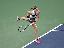 March 9, 2019 - Indian Wells, CA, U.S. - INDIAN WELLS, CA - MARCH 09: Petra Kvitov‡ (CZE) hitting a serve during  her 2nd round women's singles match at the BNP Paribas Open on March 09, 2019, played at the Indian Wells Tennis Garden in Indian Wells, CA.  (Photo by Cynthia Lum/Icon Sportswire) (Credit Image: © Cynthia Lum/Icon SMI via ZUMA Press)