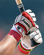 CHICAGO - SEPTEMBER 10:  A detailed view of a Franklin batting glove as worn by Jose Abreu #79 of the Chicago White Sox during the game against the San Francisco Giants on September 10, 2017 at Guaranteed Rate Field in Chicago, Illinois.  The White Sox defeated the Giants 8-1.  (Photo by Ron Vesely) Subject:   Jose Abreu
