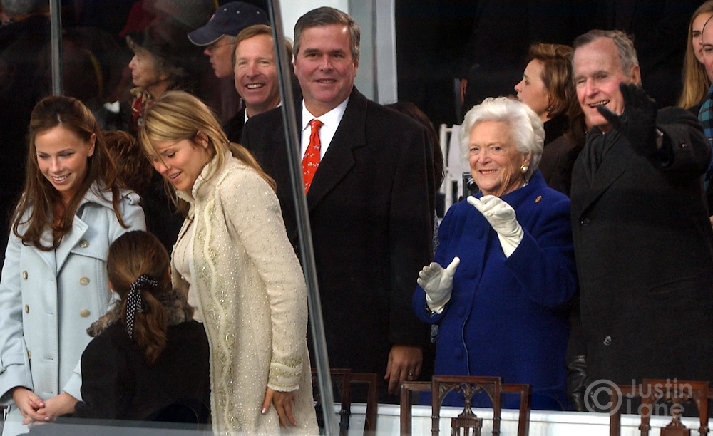 From left, Barbara and Jenna Bush, with an unidentified girl, Gov. Jeb Bush, andthe President's parents, Barbara and George H. W. Bush, watch as United States President George W. Bush parades along Pennsylvania Ave following his inauguration in Washington DC Thursday 20 January 2005. This was the 55th Presidential Inaugurational and will mark the start of Bush's second term in office.