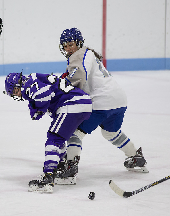 Hannah Dineen, of Colby College, in a NCAA Division III hockey game against Holy Cross on January 13, 2015 in Waterville, ME. (Dustin Satloff/Colby College Athletics)