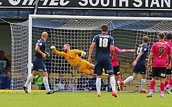 Ben Alnwick of Peterborough United cant prevent Southend United's Noel Hunt (not in picture) from scoring the second goal - Mandatory byline: Joe Dent/JMP - 07966386802 - 05/09/2015 - FOOTBALL - Roots Hall -Southend,England - Southend United v Peterborough United - Sky Bet League One