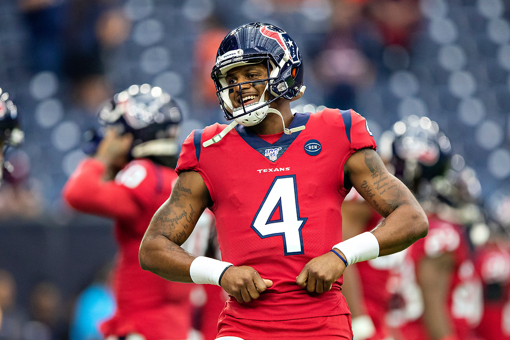 HOUSTON, TX - DECEMBER 8:  Deshaun Watson #4 of the Houston Texans dances during warm ups before a game against the Denver Broncos at NRG Stadium on December 8, 2019 in Houston, Texas.   (Photo by Wesley Hitt/Getty Images) *** Local Caption *** Deshaun Watson
