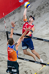 Christian Sørum NOOin action during the last day of the beach volleyball event King of the Court at Jaarbeursplein on September 12, 2020 in Utrecht.