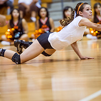 092413       Cable Hoover<br /> <br /> Gallup Bengal Patricia Lasiloo (1) dives after a shot from the Bloomfield Bobcats Tuesday at Gallup High School.
