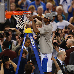 Apr 2, 2012; New Orleans, LA, USA; Kentucky Wildcats guard Marquis Teague cuts down the net after defeating the Kansas Jayhawks 67-59 in the finals of the 2012 NCAA men's basketball Final Four at the Mercedes-Benz Superdome. Mandatory Credit: Derick E. Hingle-US PRESSWIRE
