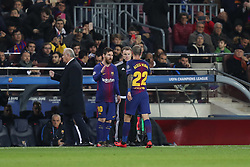 December 5, 2017 - Barcelona, Catalonia, Spain - LIONEL MESSI of FC Barcelona shakes hands with ALEIX VIDAL before coming on as a second half substitute during the UEFA Champions League, Group D football match between FC Barcelona and Sporting CP on December 5, 2017 at Camp Nou stadium in Barcelona, Spain. (Credit Image: © Manuel Blondeau via ZUMA Wire)