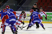 Julien Correira of Lyon and Mario Trabucco of Amiens during the French Championship Ligue Magnus, Playoffs match 3, Ice Hockey match between Lyon and Amiens on february 27, 2018 at Patinoire Charlemagne in Lyon, France - Photo Romain Biard / Isports / ProSportsImages / DPPI
