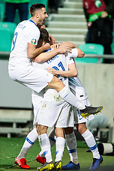 Andraž Šporar of Slovenia and other players celebrate after first goal of Slovenia during football match between National teams of Slovenia and North Macedonia in Group G of UEFA Euro 2020 qualifications, on March 24, 2019 in SRC Stozice, Ljubljana, Slovenia. Photo by Vid Ponikvar / Sportida