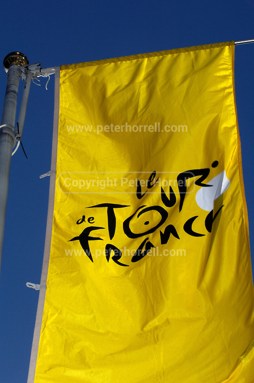 Tour de France banner flys outside at the official launch of London hosting the Prologue and Stage One of the 2007 Tour de France held at the Queen Elizabeth 2 Conference Centre on Thursday 9th February 2006.
