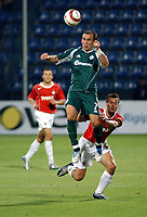 Fotball<br /> Foto: Wrofoto/Digitalsport<br /> NORWAY ONLY<br /> <br /> UEFA Champions League third qualifying round soccer match in Krakow, Poland, on Tuesday, Aug. 9, 2005<br /> WISLA KRAKOW v PANATHINAIKOS ATHENS<br /> KRAKOW 09/08/2005<br /> <br /> THEOFANIS GEKAS /7 PANATHINAIKOS/ & MAREK ZIENCZUK / WISLA/