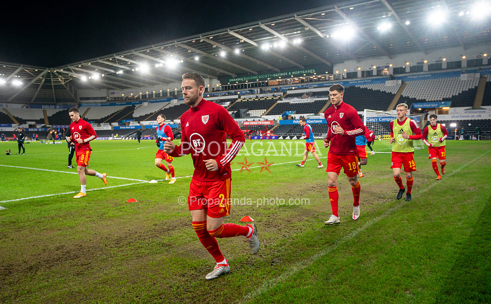 SWANSEA, WALES - Thursday, November 12, 2020: Wales' Chris Gunter during the pre-match warm-up before an International Friendly match between Wales and the USA at the Liberty Stadium. (Pic by David Rawcliffe/Propaganda)