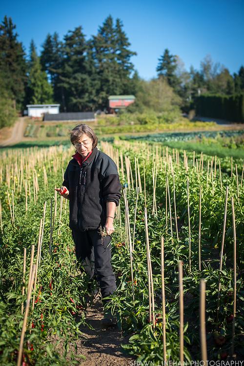 Environmental portrait of Shari Sirkin holding red pepper.