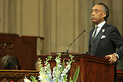 December 11, 2013-New York, NY: Rev. Al Sharpton, Founder & President, National Action Network attends the Nelson Mandela Commemorative Memorial service held at the Riverside Church on December 11, 2013 in New York City. Nelson Rolihlahla Mandela was inaugurated as the first black President of a democratic South Africa on May 10, 1994 bringing democracy and ending the oppressive rule of apartheid . (Terrence Jennings)