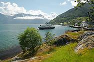 A ferry arriving in Utne on Hardanger Fjord, Vestlandet, Norway