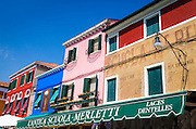 Colorful shops and houses, Burano, Veneto, Italy