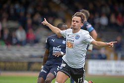 Ayr United's Laurence Shankland celebrates after scoring their first goal. Dundee 0 v 3 Ayr United, Scottish League Cup Second Round, played 18/8/2018 at the Kilmac Stadium at Dens Park, Scotland.