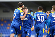 GOAL 1-1, AFC Wimbledon striker Ollie Palmer (9), during the EFL Sky Bet League 1 match between AFC Wimbledon and Lincoln City at Plough Lane, London, United Kingdom on 2 January 2021.