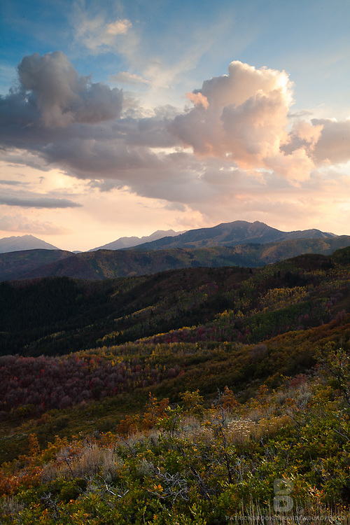 Dramatic sky above on the Guardsman Pass in the Wasatch Range in the mountains above Heber, Utah.