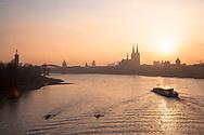 view from the Zoo bridge over the river Rhine to the cathedral and the city, Cologne, Germany.<br /> <br /> Blick von der Zoobruecke ueber den Rhein zum Zentrum und zum Dom, Koeln, Deutschland.